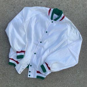 Vintage 80's White Satin Bomber Jacket